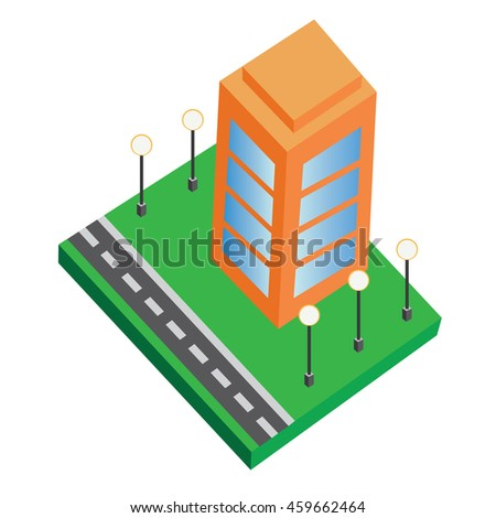 Isometric buildings vector includes office building, road,office space -Isometric office building tycoon game - city tycoon isolated vector