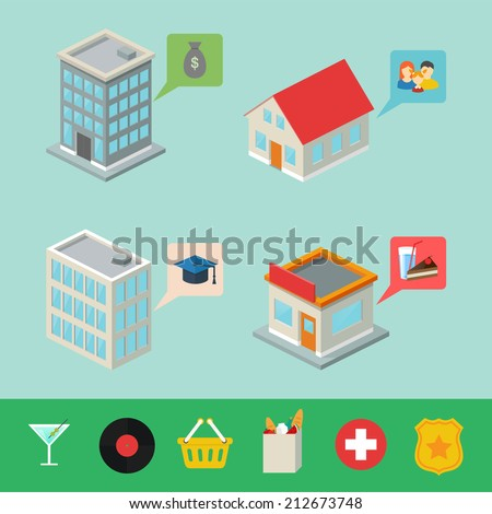 Isometric buildings with pointers for map, infographic elements  - stock vector
