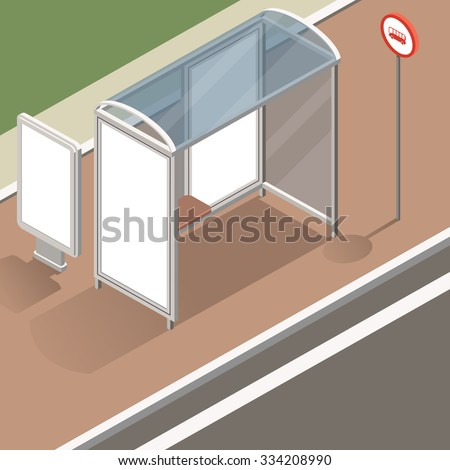 isometric bus stop with street banner mockup for advertising and posters. Isometric view of the street with a stop and street banners. Flat design illustration - stock vector