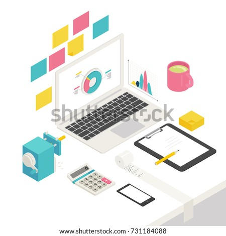 isometric business office object vector illustration flat design