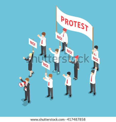 Isometric business people demonstration or Protest with megaphone and placard, VECTOR, EPS10 - stock vector