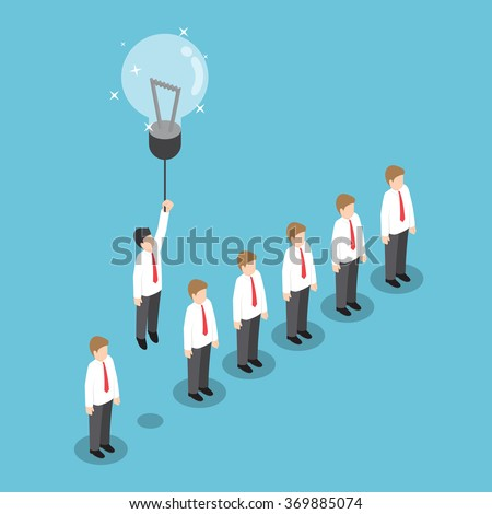 Isometric businessman flying out from the crowd by light bulb of idea, VECTOR, EPS10 - stock vector