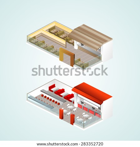 Isometric cafe and other elements. Vector illustration. - stock vector
