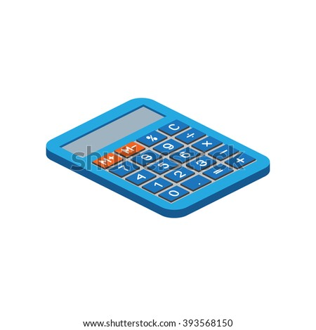 Isometric calculator on white background. For web design and application interface, also useful for infographics.Vector illustration.