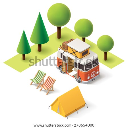 Isometric camper van in the camping - stock vector