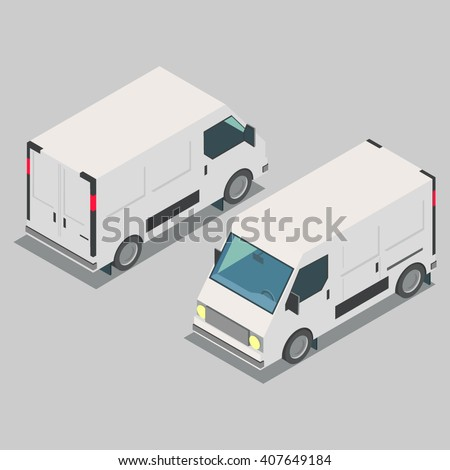 Isometric  car, front end rear view. - stock vector