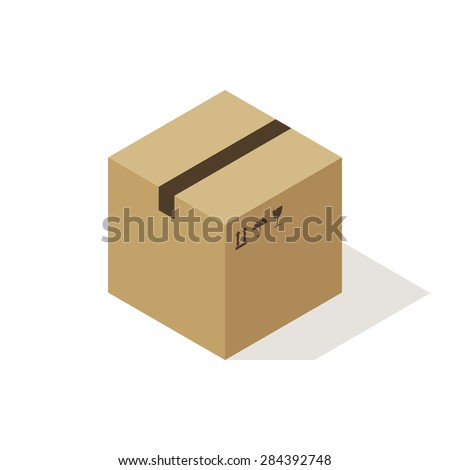 Isometric cardboard box icon, modern minimal flat design style. Closed cardboard box with fragile symbols, vector illustration - stock vector