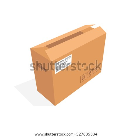 Isometric cardboard box packaging isolated, vector illustration design