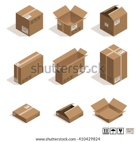 Isometric cardboard boxes isolated on white.