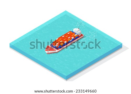 Isometric cargo ship carrying various multicolored containers. Vector illustration concept. - stock vector