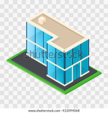 Isometric Chic modern rustic cottage. The modern glass building. House of glass. Business center. Element of cartography. Stylish architectural icon. Vector illustration. - stock vector