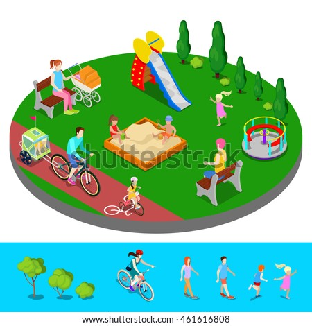 Isometric Children Playground in the Park with People, Slide and Sandbox. Vector illustration