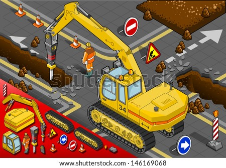 Isometric Chisel Excavator in Rear View with Man at Work - stock vector