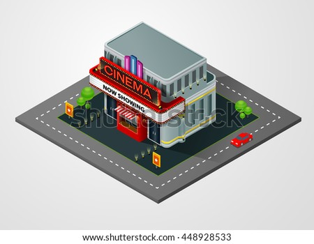 isometric cinema, theater,building,vector