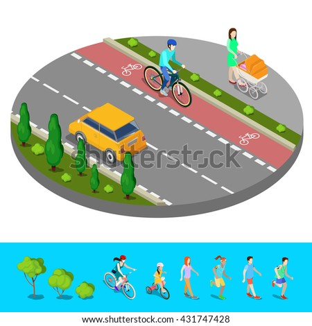 Isometric City. Bike Path with Bicyclist. Footpath with Mother and Baby Carriage. Vector illustration - stock vector