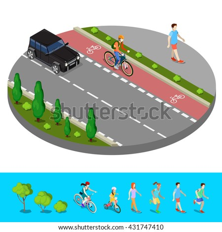 Isometric City. Bike Path with Bicyclist. Footpath with Walking Man. Vector illustration - stock vector