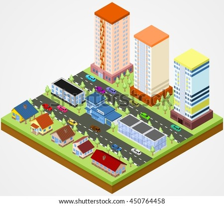 Isometric city block with the police station