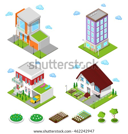 Isometric City Buildings Set. Modern Houses with Flowers and Garage. Vector illustration