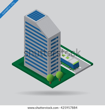 isometric city - bus on road, dashed line, building with solar panels and trees