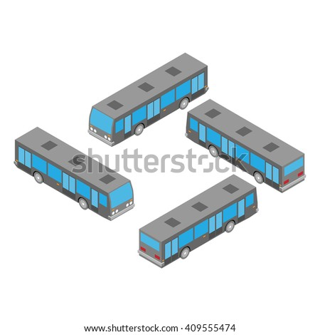 isometric city bus on the white background	0
