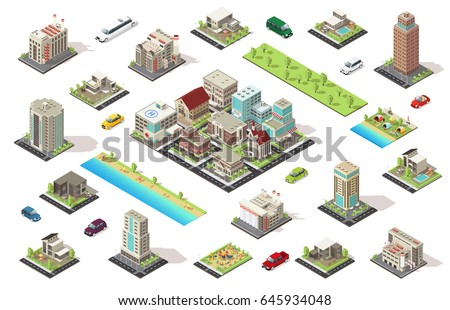 Isometric city constructor elements set with buildings cars garden camping cottages children playground isolated vector illustration