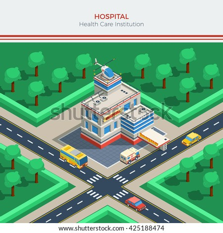 Isometric city constructor with hospital building helicopter on roof crossroad ambulance and cars vector illustration