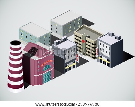 isometric city, eps10, vector - stock vector