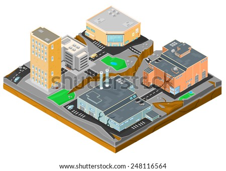 Isometric city hit by an Earthquake. Isometric City Earthquake. An Isometric cityscape ravaged by natural disaster.