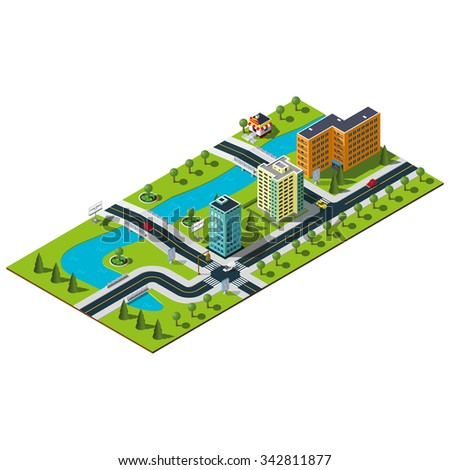 Isometric city map. Crossroads and road markings illustration. Bridge over the wide river in downtown. Bakery illustration. Isometric city. 3d city.