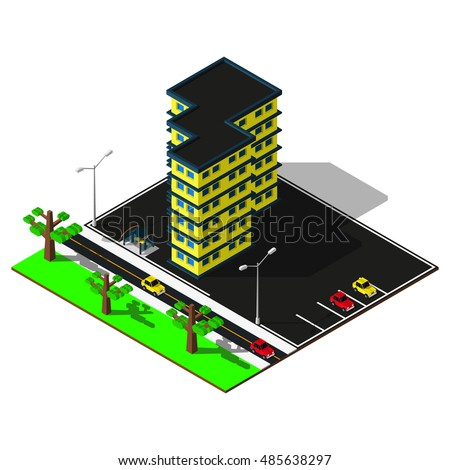 Isometric city map. 3d building with bus stop and parking illustration. Isometric elements.
