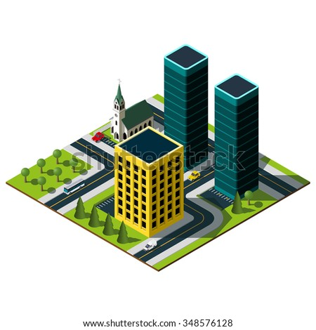 Isometric city map. Set of buildings in downtown. Cathedral illustration.