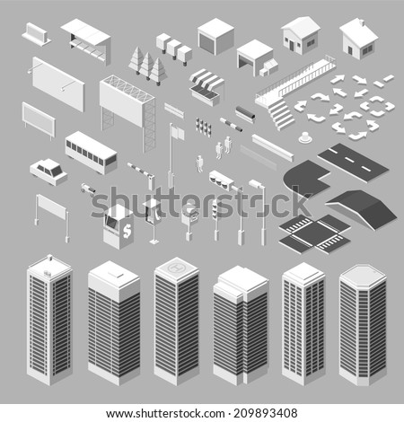 Isometric city map - vector Illustration - stock vector