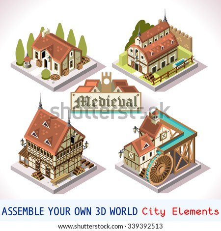 Medieval village stock images royalty free images for 3d house building games online