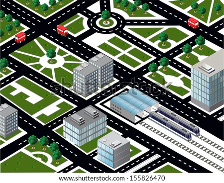 Isometric city model with transport - stock vector