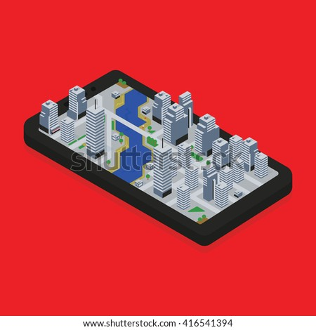 Isometric city rises from smart phone screen vector illustration. Modern map application concept.