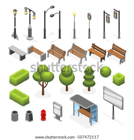 Isometric city street outdoor objects vector set
