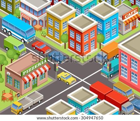 Isometric city. Vector  - stock vector