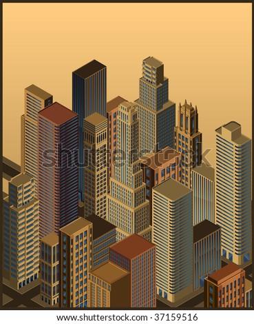 isometric city- vector - stock vector