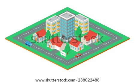 Isometric city, vector illustration  - stock vector