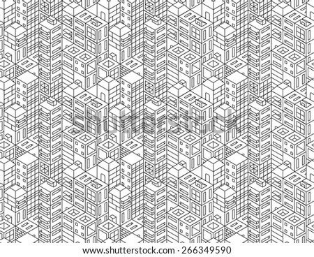 Isometric city vector seamless background - stock vector