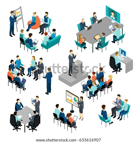 Isometric coaching characters set with learning education training teaching processes conference seminar isolated vector illustration