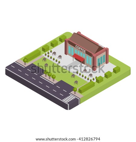 Isometric Coffee shop vector illustration