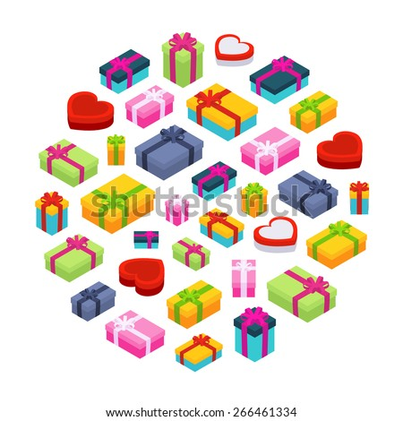 Isometric colored gift boxes against the white background. Illustration suitable for advertising and promotion - stock vector