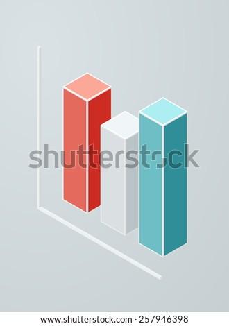 Isometric column chart icon. Vector 3d graph. - stock vector