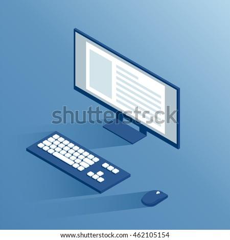isometric computer peripherals: monitor, keyboard and computer mouse, isometric workplace