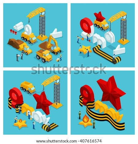 Isometric concept for on 9 May. steps for the creation and preparation of the celebration. Development of the project, the structure. Construction, crane, truck, work. Vector illustration - stock vector