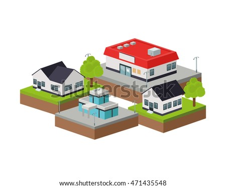 Isometric concept represented by building of city icon. Colorfull and Isolated design
