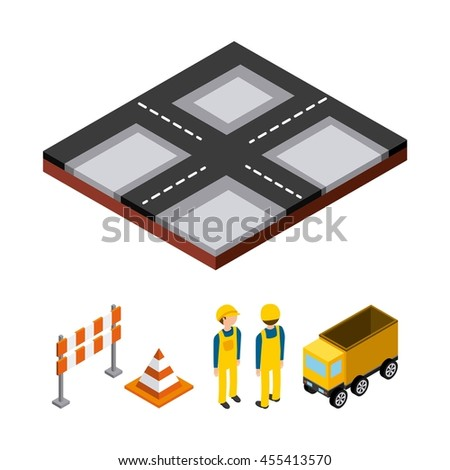 Isometric concept represented by cone barrier constructer truck street icon. Colorfull and geometric illustration.  - stock vector