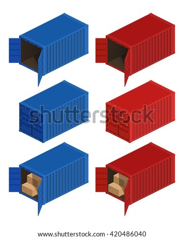 Isometric container delivery. Cargo container, cargo and container, freight industry, export container,  storage goods, - stock vector