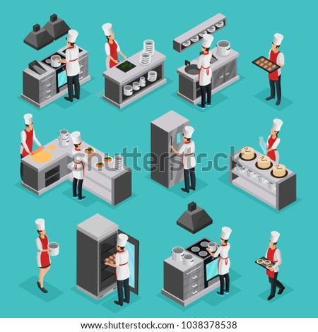 Isometric cooking process elements set with professional cooks preparing different dishes and working in restaurant isolated vector illustration